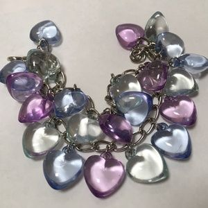 Jewelry - Lucite Loaded Heart Charm Bracelet, MO311